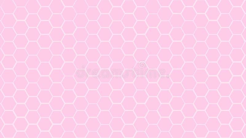 Zachte kleur van de tegel willekeurige achtergrond van het Honingraatnet of Hexagonale celtextuur in kleuren Plastic roze met gra royalty-vrije illustratie