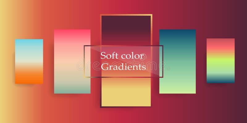 Zachte kleurengradiënten Een moderne kleurencombinatie voor een mobiele toepassing, of voor ontwerp De achtergrond van de gradiën royalty-vrije illustratie