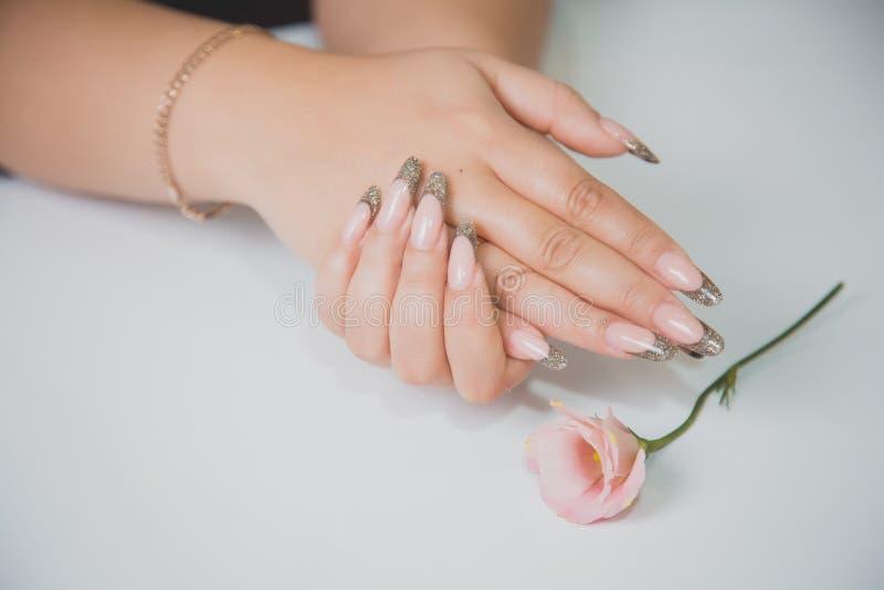 Zachte manicure, Franse manicure, schoonheid, manier royalty-vrije stock foto's
