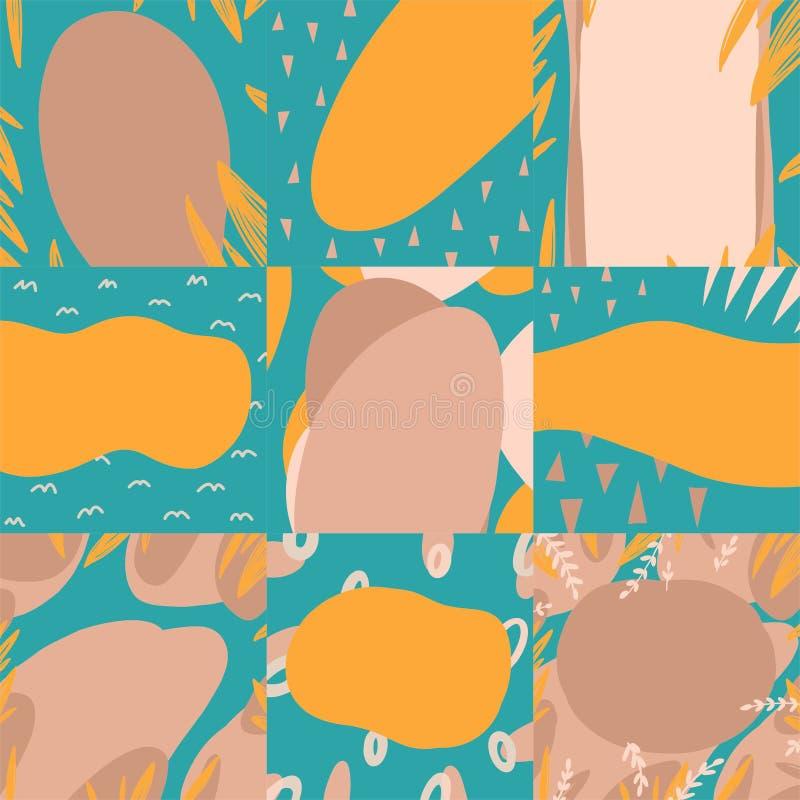 Zachte moderne achtergronden voor tekst in vector in blauwe, beige en gele kleuren royalty-vrije illustratie