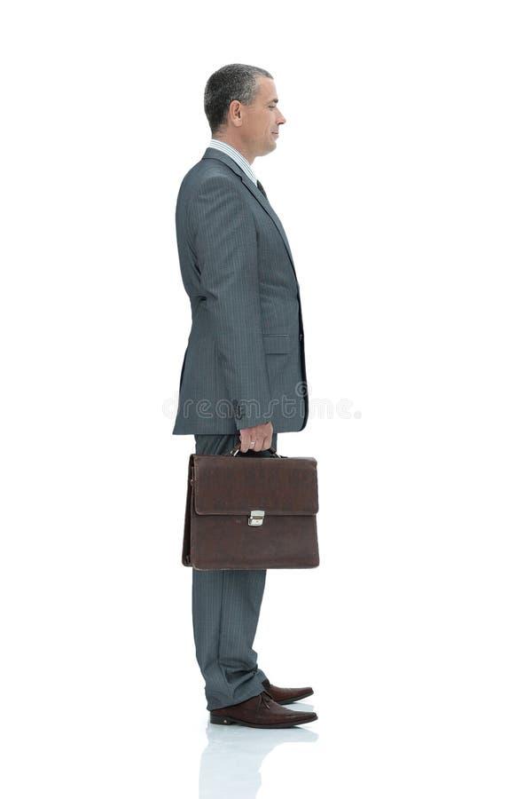 Zachte nadruk Zekere zakenman met aktentas stock fotografie