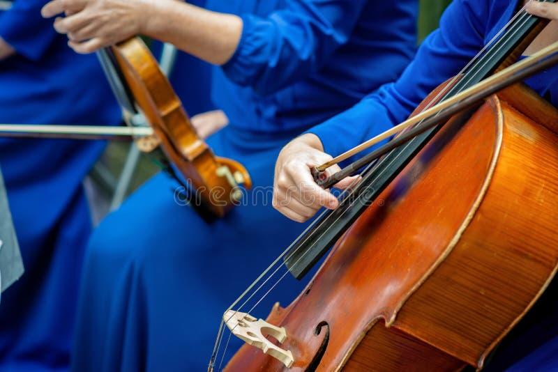 Zachte nadrukfoto Vrouwen in de de blauwe cello en viool van het kostuumsspel stock fotografie