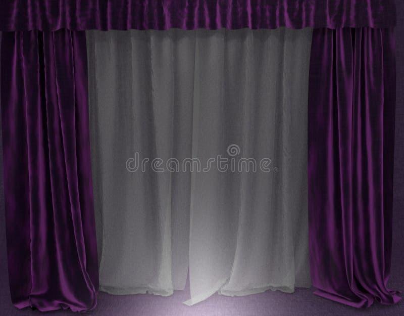 Zachte purpere gordijnen stock afbeelding