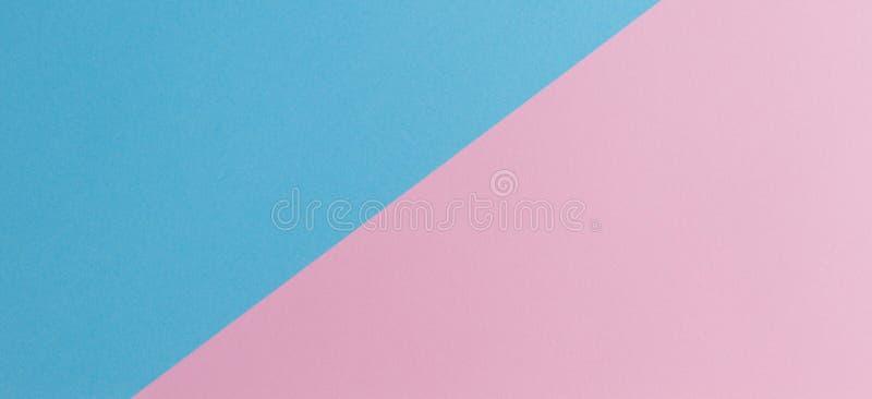 Zachte roze en lichtblauwe pastelkleur gekleurde document bannerachtergrond royalty-vrije stock afbeelding