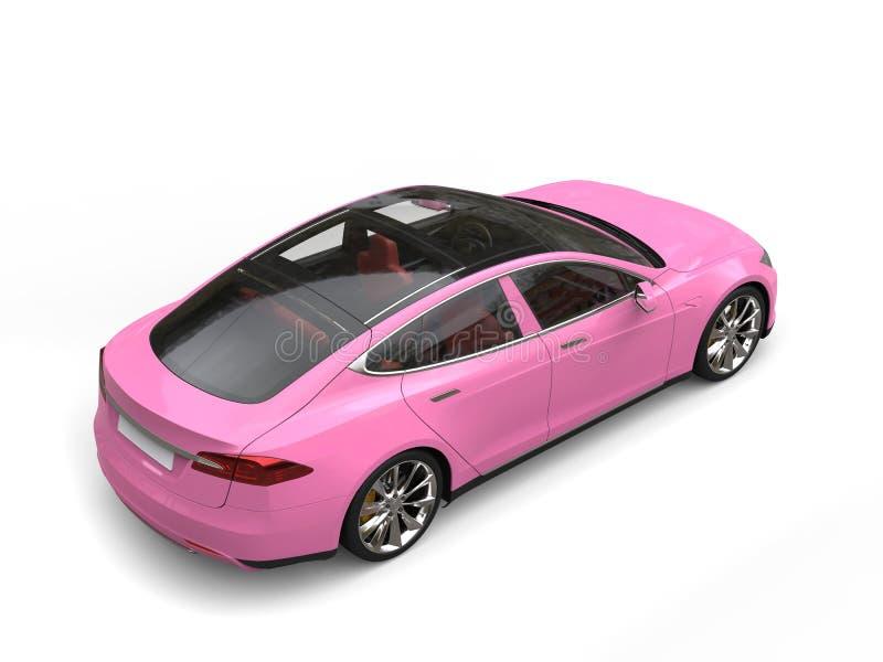 Zachte roze moderne elektrische sportwagen - top down achtergevelmening royalty-vrije stock fotografie