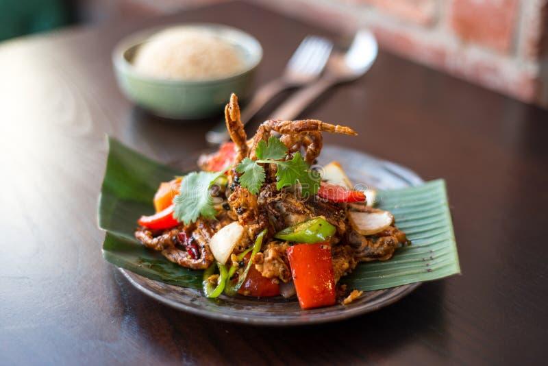 Zachte Shell Krab Thais voedsel - beweeg gebraden gerecht #6 royalty-vrije stock foto's