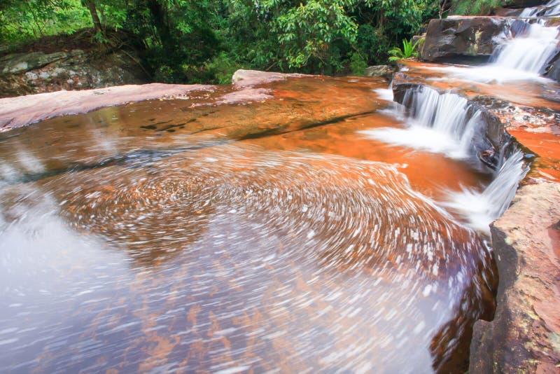 Zachte streamlet die op lagen van zandsteen vallen, kunstvorm van stenen voegt en oppervlakte van zoetwater samen stock afbeelding