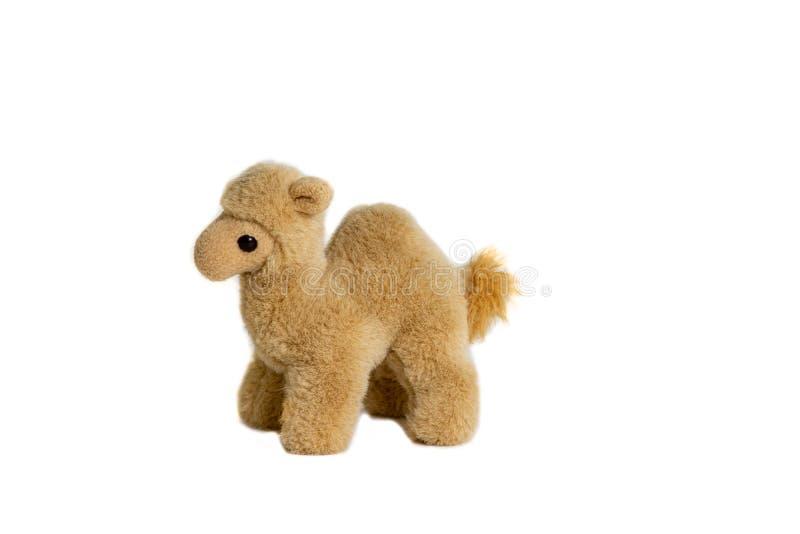 Zachte stuk speelgoed kameel voor kinderen op een witte achtergrond stock foto's