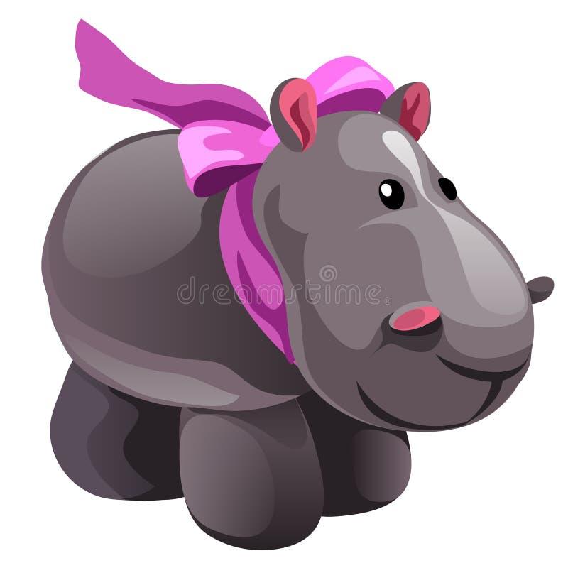 Zachte stuk speelgoed pluche grijze Hippo met roze die boog op witte achtergrond wordt geïsoleerd De vectorillustratie van het be vector illustratie