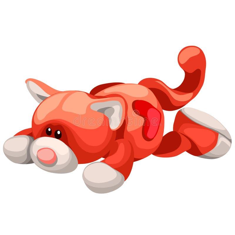 Zachte stuk speelgoed pluche rode die kat op witte achtergrond wordt geïsoleerd De vectorillustratie van het beeldverhaalclose-up vector illustratie