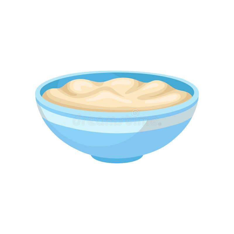 Zachte tahoe in een kom, gezonde voedingvoedsel, veganist bron van proteïne vectorillustratie op een witte achtergrond vector illustratie