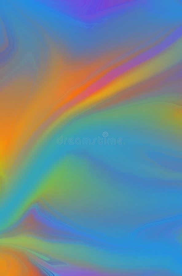 Zachte, wazige en gemarmerde achtergrond met een abstract, kleurrijk, gemengd verfontwerp in vet helder, oranje, paarsgeel en roz stock illustratie