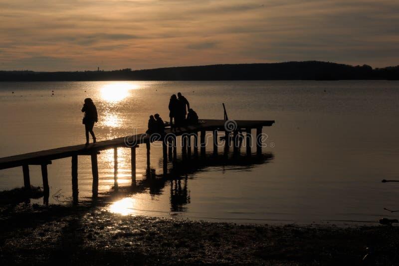 Zachwycający zachód słońca w Ammersee, Bawarii, Niemcy zdjęcia stock