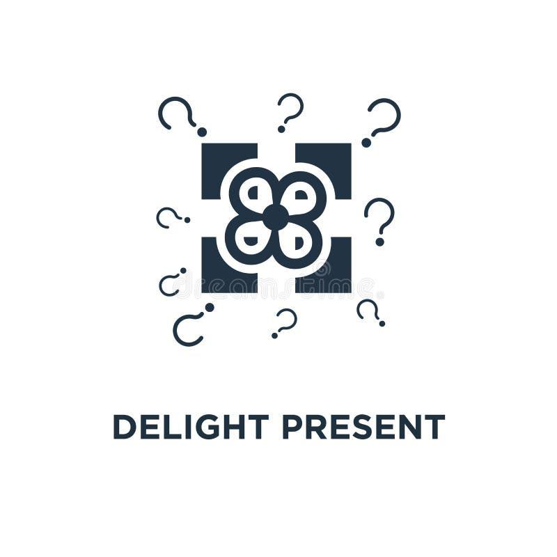 zachwyt teraźniejsza ikona niespodzianka prezenta pudełka pojęcia symbolu żółty projekt, urodzinowy świętowanie, dodatek specjaln ilustracji