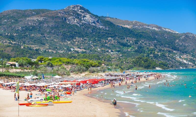 Zacinto, Grecia Spiaggia della banana fotografia stock