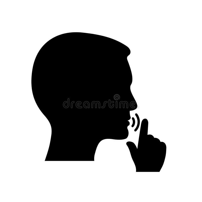 """Zaciszność, zadawala Utrzymanie ciszy symbol Utrzymuje zaciszności szyldowego †""""wektor ilustracja wektor"""