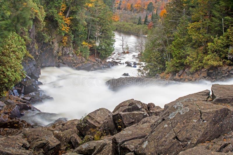 Zackige Fälle auf Oxtongue-Fluss, der in Autumn Colors fließt stockfoto