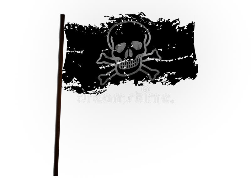 Zackige Piratenflagge auf der Welle stock abbildung