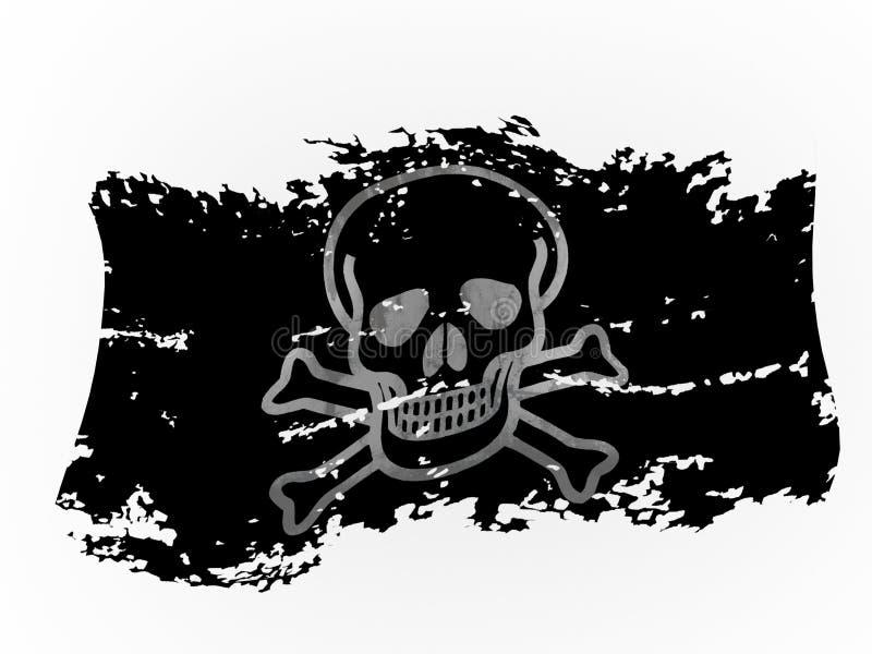 Zackige Wiedergabe der Piratenflagge 3d stock abbildung