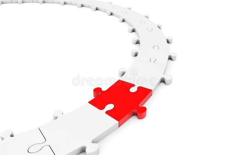 Zackiger Ring des Puzzlespiels mit rotem Stück lizenzfreie abbildung