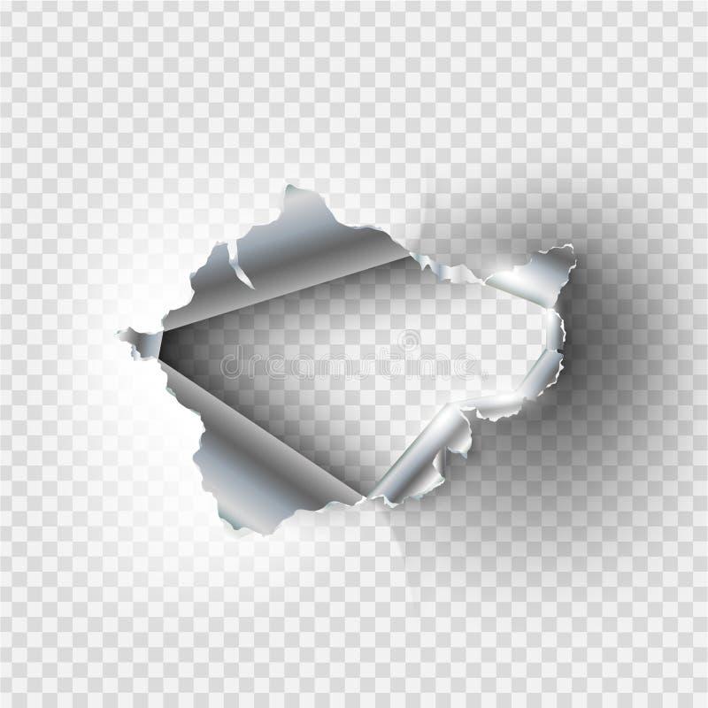 Zackiges Loch zerrissen in zerrissenem Metall lizenzfreie abbildung