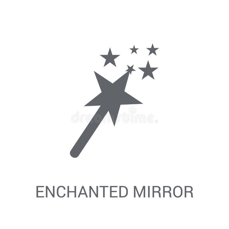 Zaczarowana lustrzana ikona Modny Zaczarowany lustrzany logo pojęcie na w royalty ilustracja