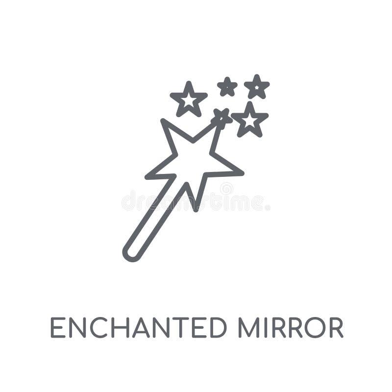 Zaczarowana lustrzana liniowa ikona Nowożytnego konturu Zaczarowany lustrzany lo ilustracja wektor