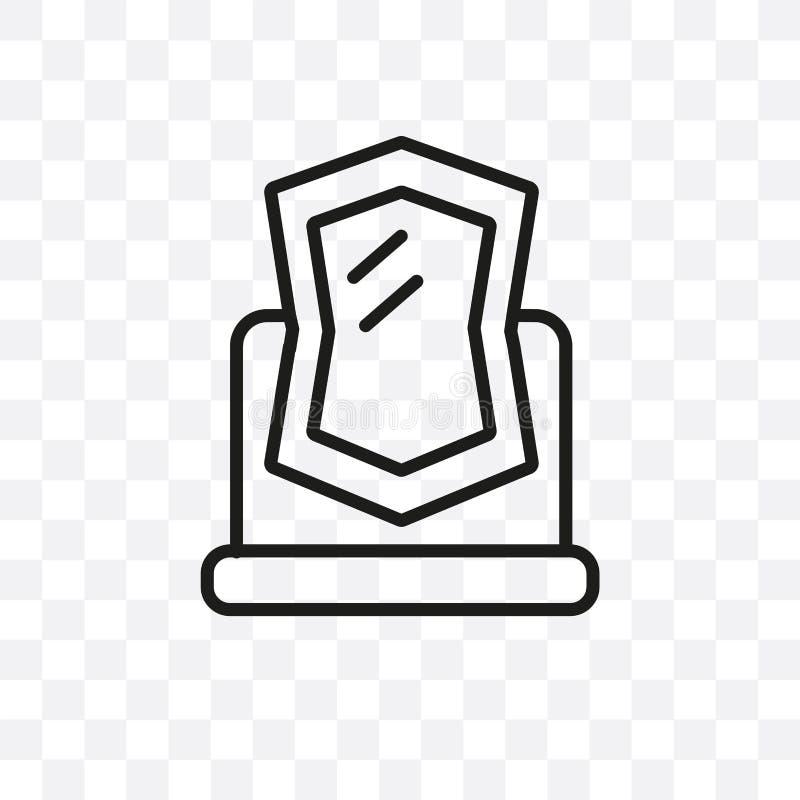 Zaczarowana lustrzana wektorowa liniowa ikona odizolowywająca na przejrzystym tle, Zaczarowany lustrzany przezroczystości pojęcie ilustracja wektor