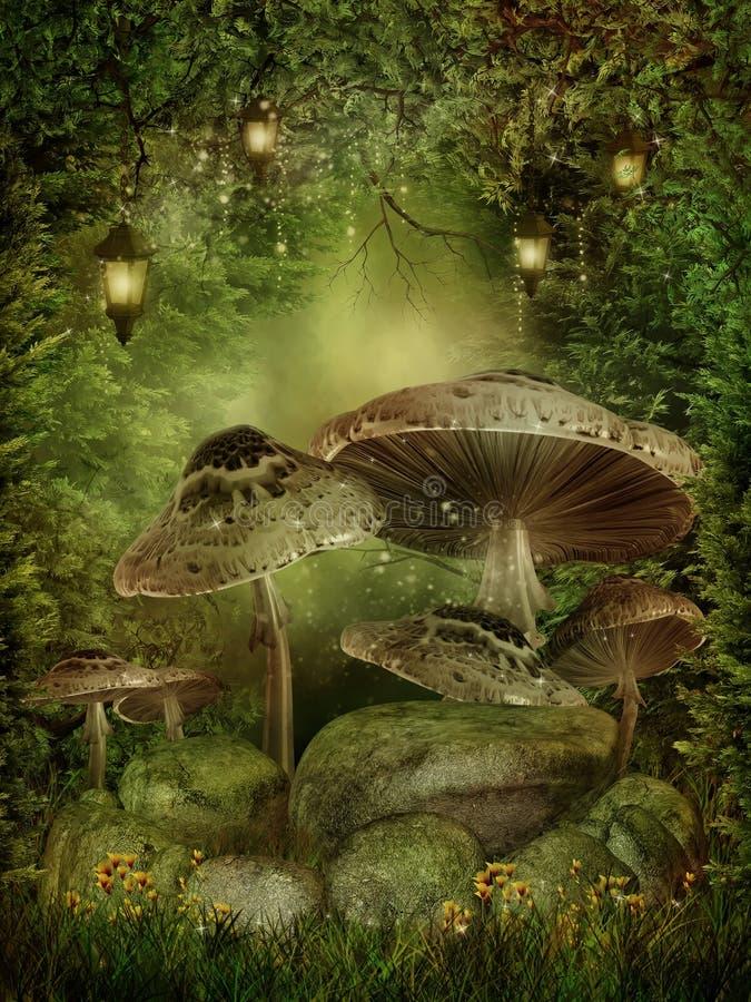 zaczarowane lasowe pieczarki ilustracja wektor