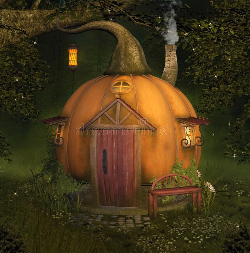 Zaczarowany bania dom w lesie ilustracja wektor