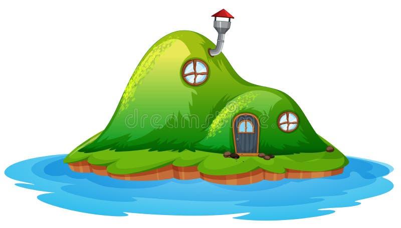 Zaczarowany czarodziejka dom na wyspie ilustracji
