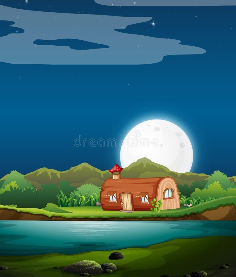 Zaczarowany drewniany dom przy nocą ilustracji