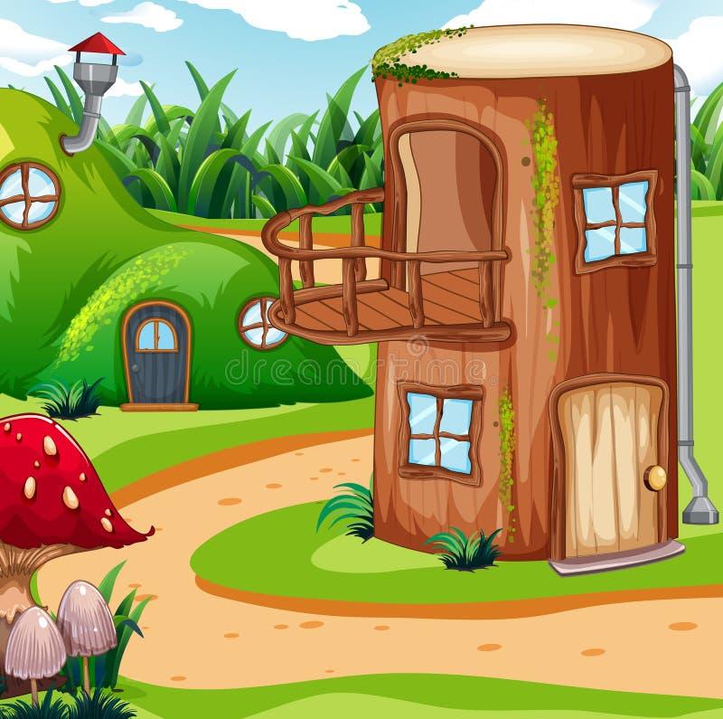 Zaczarowany drewniany dom w naturze ilustracja wektor