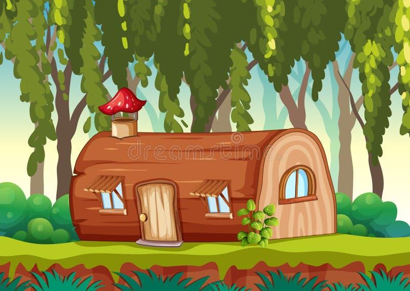 Zaczarowany drewniany dom w naturze ilustracji