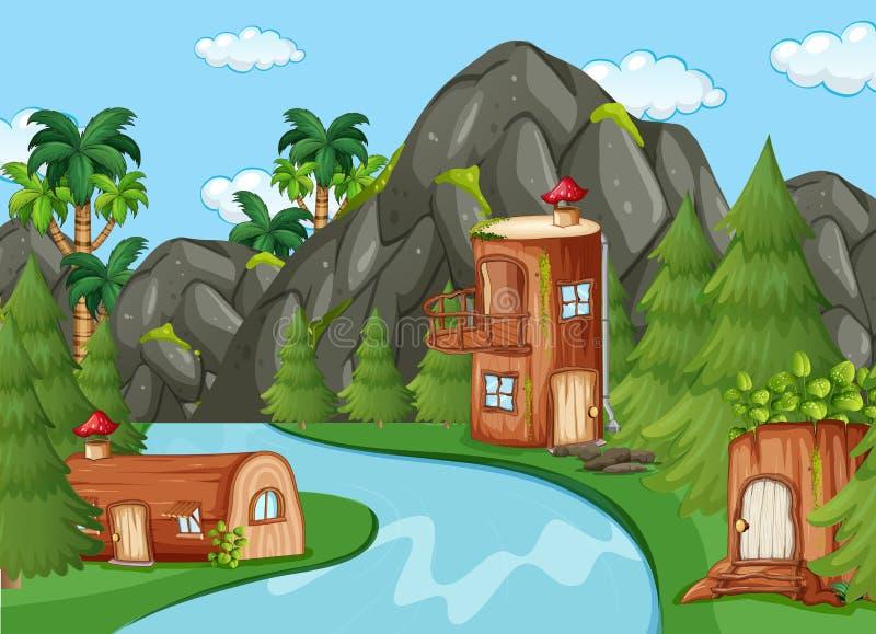 Zaczarowany drewniany dom w naturze royalty ilustracja