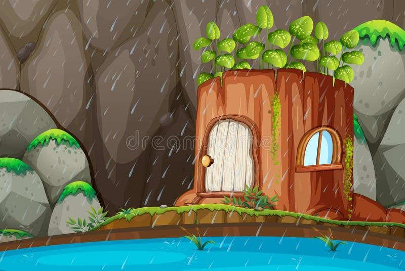 Zaczarowany drzewnego bagażnika dom royalty ilustracja