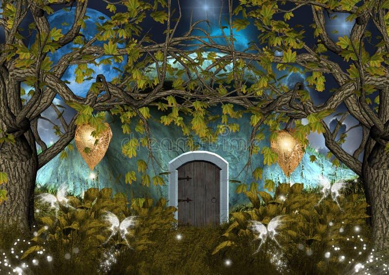 zaczarowany elfa dom royalty ilustracja