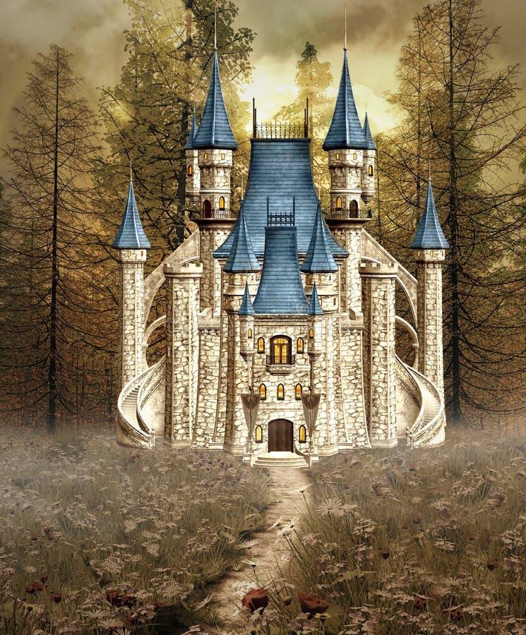Zaczarowany Kopciuszek kasztel royalty ilustracja