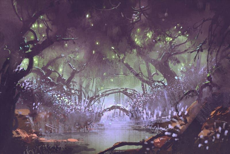 Zaczarowany las, fantazja krajobraz ilustracji