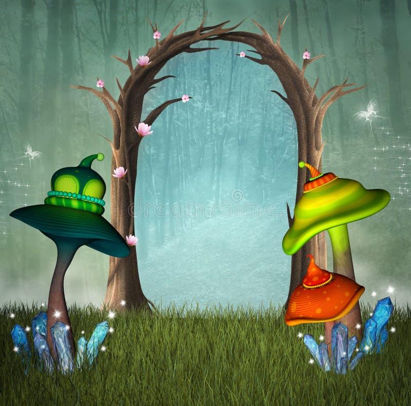 Zaczarowany lasowy przejście ilustracja wektor