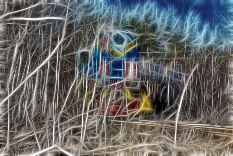 Zaczarowany lasu dom elfy ilustracji