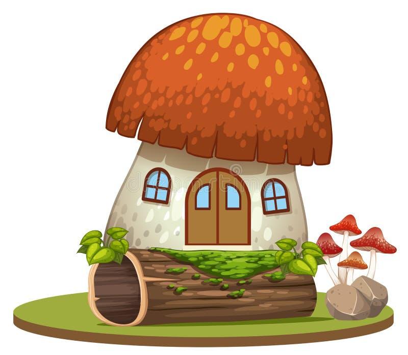 Zaczarowany pieczarka dom na białym tle ilustracja wektor