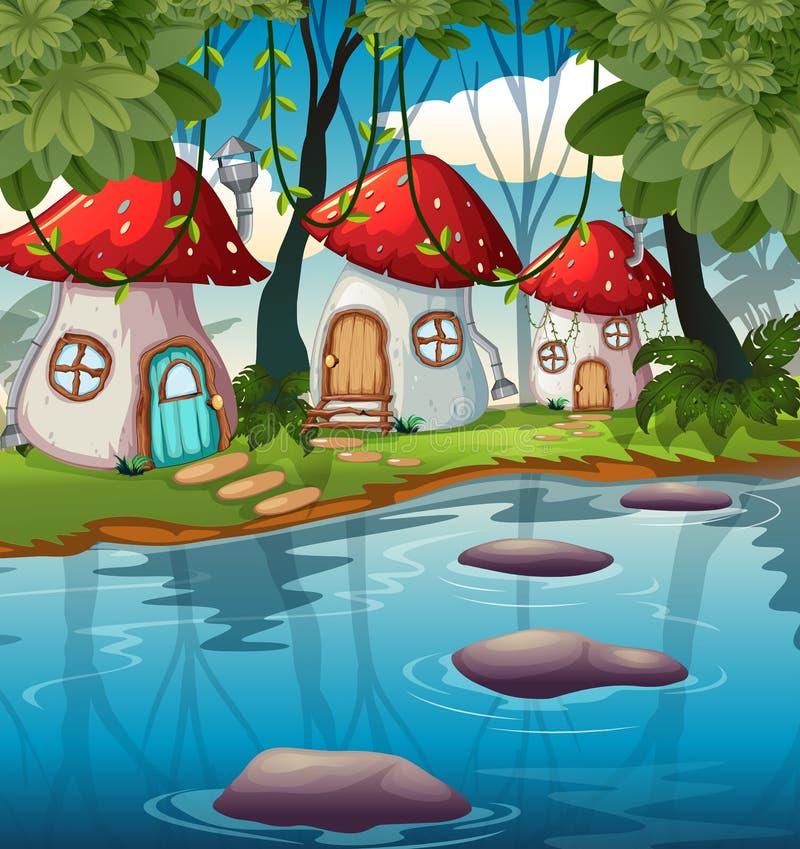 Zaczarowany pieczarka dom w naturze ilustracja wektor