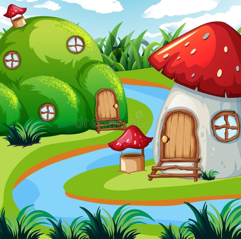 Zaczarowany pieczarka dom w naturze ilustracji