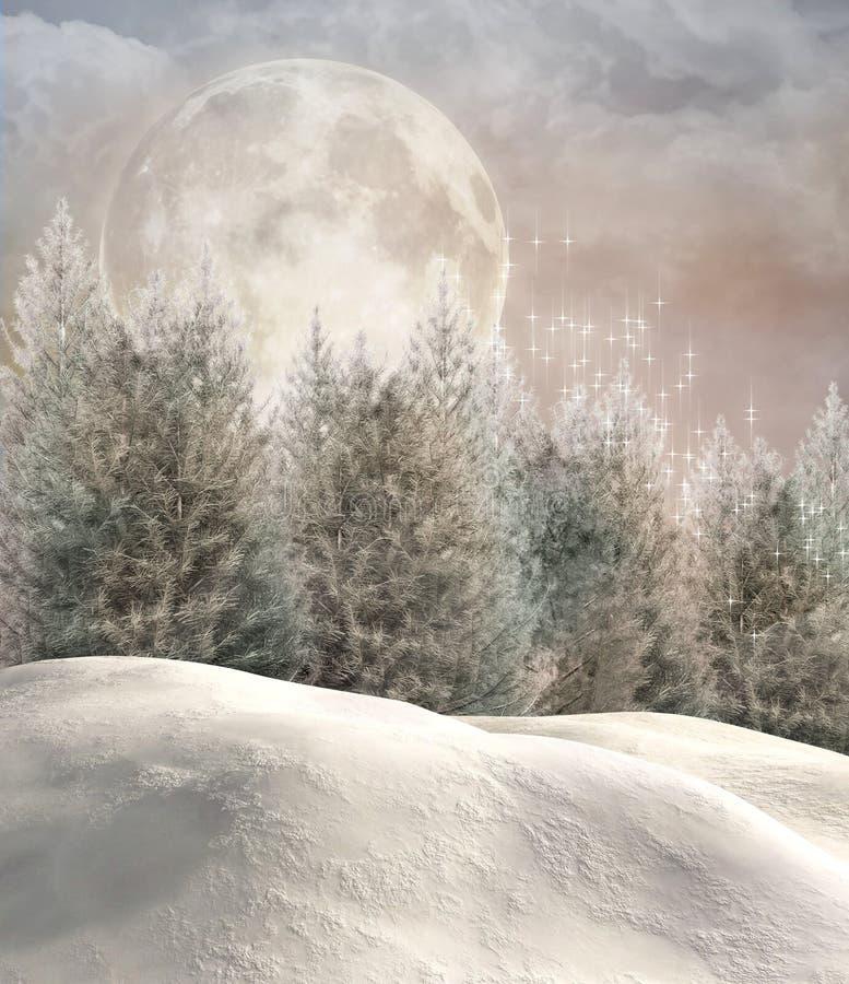 Zaczarowany zima las royalty ilustracja