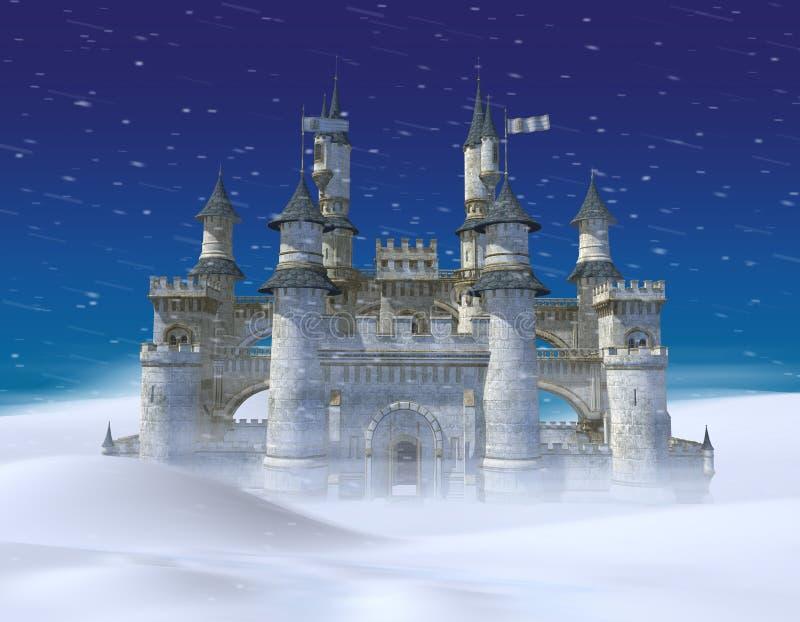 Zaczarowany zimy bajki Princess kasztel ilustracja wektor