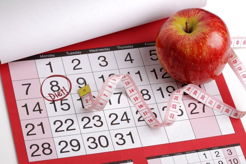 Zaczynać dietę kalendarzowa data fotografia royalty free