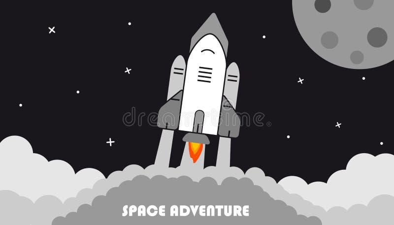 Zaczynać rakietę, księżyc I gwiazdy, Wektorowa ilustracja - Astronautyczny przygody tło - ilustracji