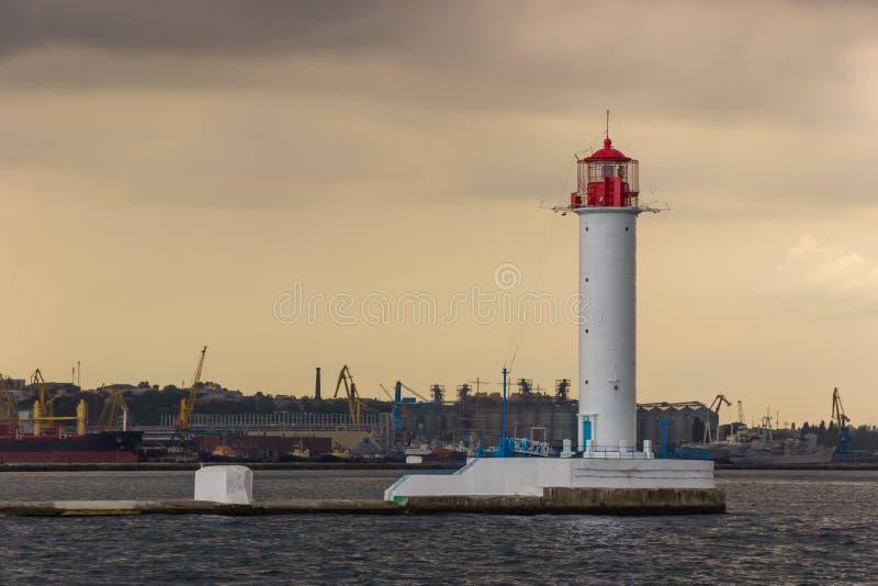 zaczyna burzę Vorontsov latarnia morska w Odessa, Ukraina zdjęcie royalty free