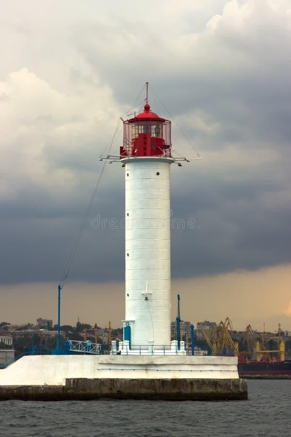 zaczyna burzę Vorontsov latarnia morska w Odessa, Ukraina fotografia royalty free